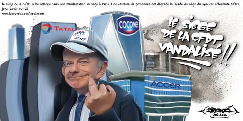 JERC 2016-06-27, caricature Gattaz CFDT Plus gros qu'une pièce de 2 euros, l'impact de la loi travail ne sera pas reparable. www.facebook.com/jercdessin Cliquer sur la photo pour voir en plus grand