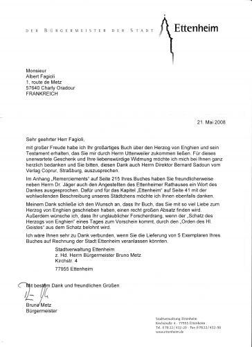 La lettre de remerciement de la part de monsieur le Maire de la
