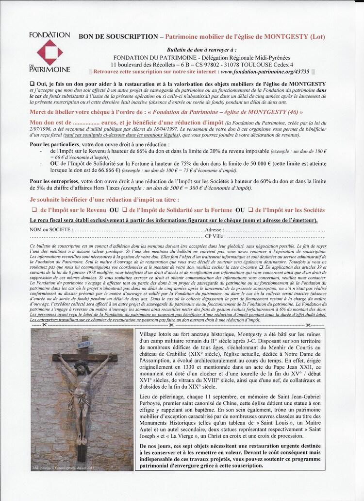 Souscription pour le mobilier de l'église de MONTGESTY