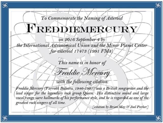 Le certificat officiel de l'astéroïde Freddie Mercury.