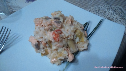 Risotto au saumon et poireau
