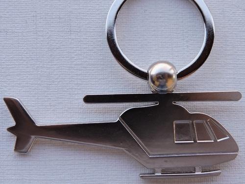 Porte-clés Hélicoptère métal argenté (2)