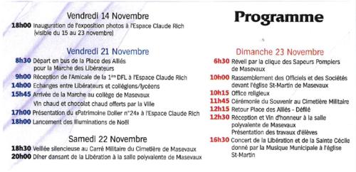 * Programme des cérémonies du 70ème anniversaire de la libération de Masevaux