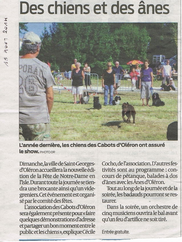 Dimanche 17 août 2014: Fête à Notre Dame en isle  (île d'Oléron)