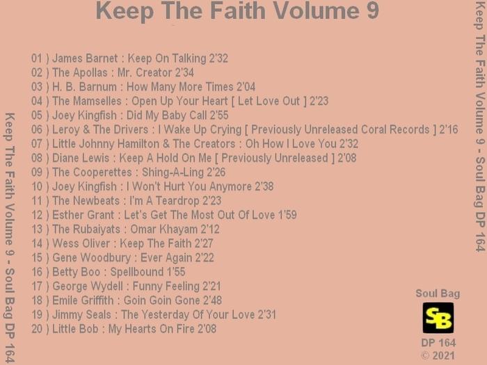 """Various Artists : CD """" Keep The Faith Volume 9 """" Soul Bag Records DP 164 [ FR ]"""