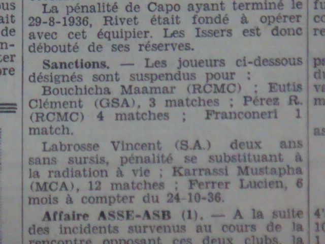 Kerrarsi MCA suspendu 12 matchs