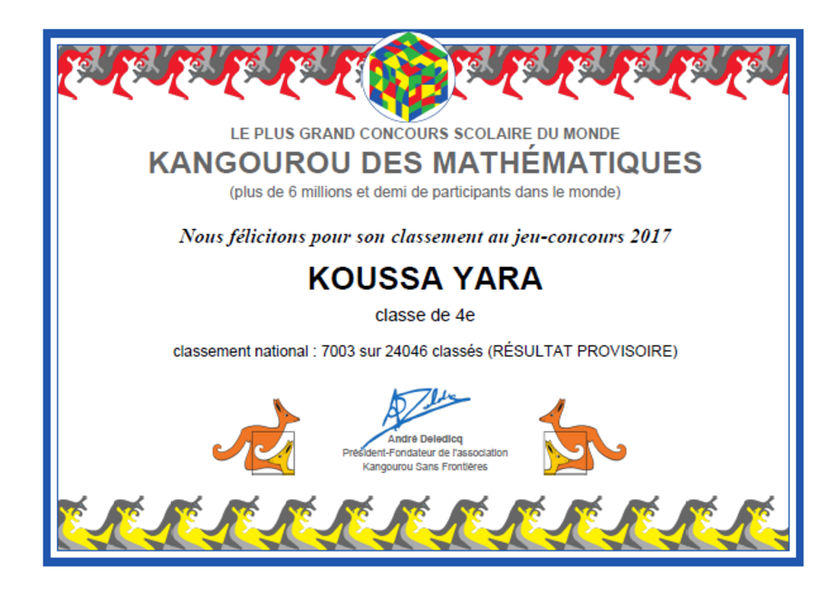 Resultats provisoires des eleves d'EB8 au concours Kangourou