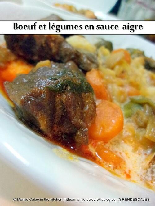 Bœuf et légumes en sauce aigre