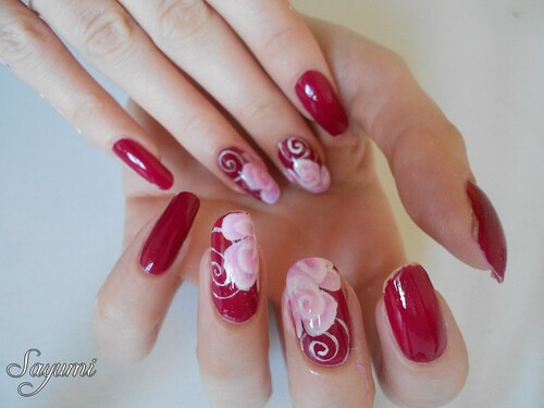 Nail Art Rose en one stroke