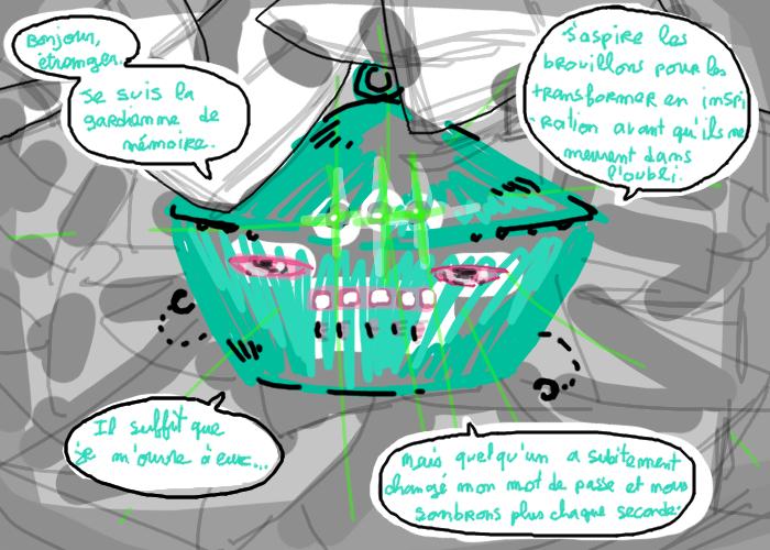 Le truc qui brille vert