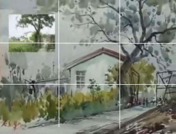 Dessin et peinture - vidéo 1475 : Peinture sur site d'un artiste Taïwanais - aquarelle.