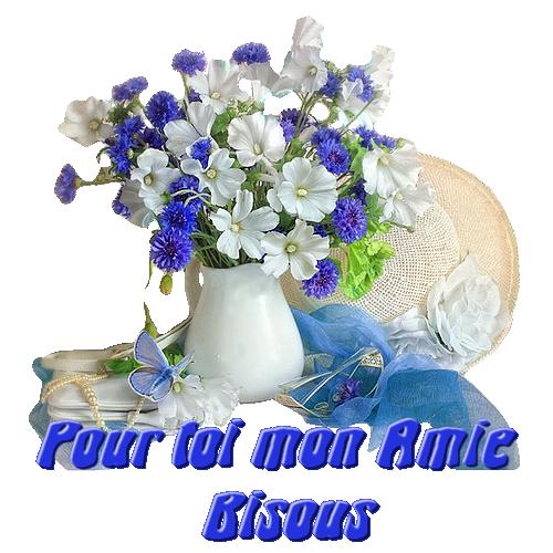 barre fleurs bleue et blanche , pour toi mon amie