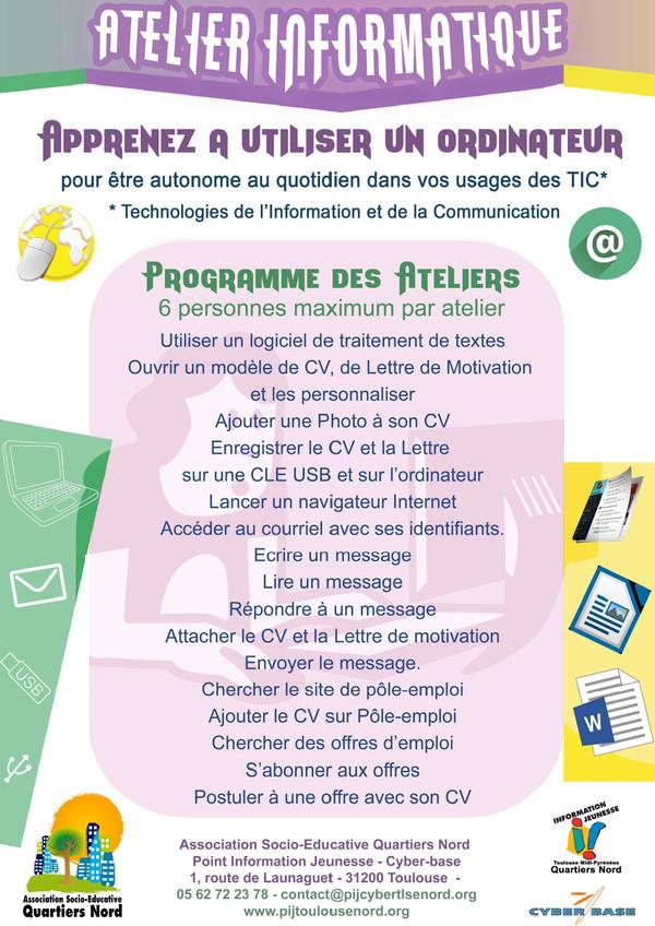Atelier Informatique au PIJ - Tous les mardis de 13h30 à 15h00