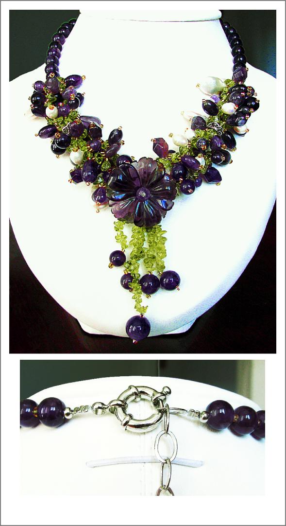 Collier Améthyste, Péridot & Perles d'Eau douce - Une jolie idée