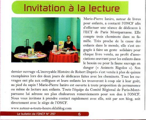 Article sur Robert Dupré et dédicaces pour l'ONCF - Orphelinat National des Chemins de Fer de France