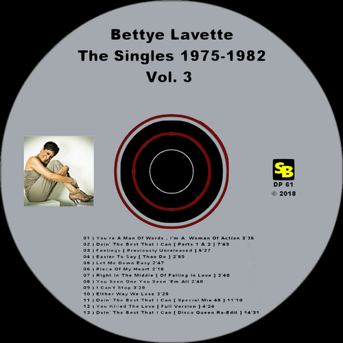 "Bettye Lavette : CD "" The Singles 1975-1982 Vol. 3 "" SB Records DP 61 [ FR ]"