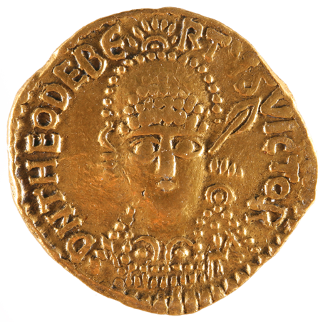 Solidus ou monnaie en or à l'effigie de Théodebert (534-548), Verdun, Musée de la Cour d'or