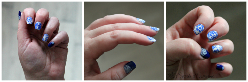 Nail art à l'ancienne... bleu blanc