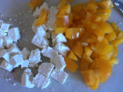 Poulet/poivrons jaunes/ricotella