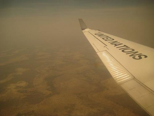 Vol avec l'avion du PAM (Programme Alimentaire Mondial)