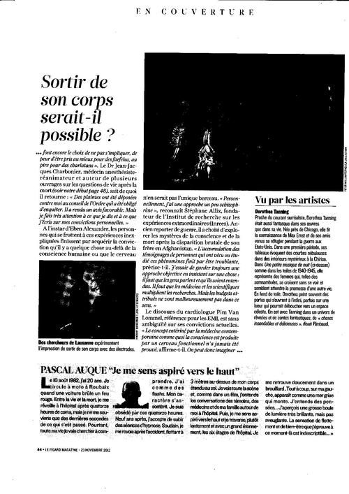 FIGARO MAGAZINE du 23 novembre 2012 :Les EMI