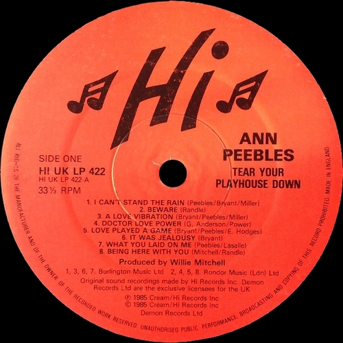"Ann Peebles : Album "" I'm Gonna Tear Your Playhouse Down "" Hi Records HI UK LP 422 [ UK ]"