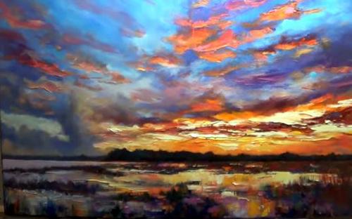 Dessin et peinture - vidéo 2076 : Coucher de soleil sur les zones inondables - peinture à l'huile ou acrylique.