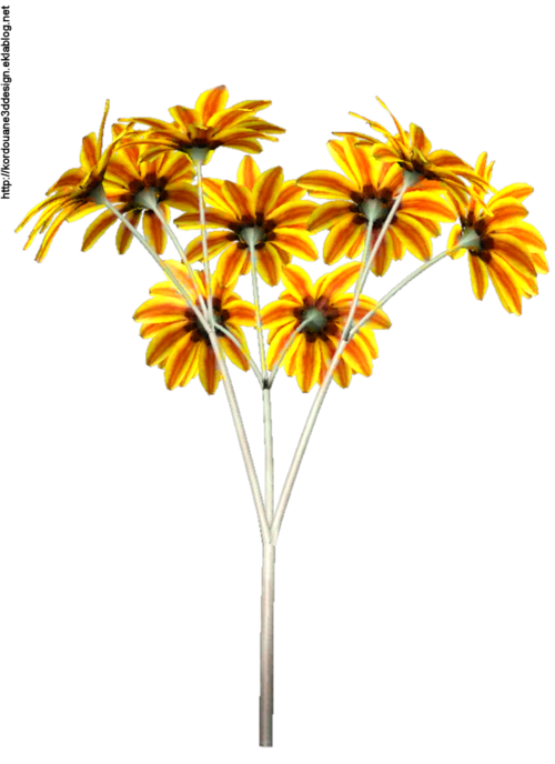 Tube de dahlias jaune (render-image)