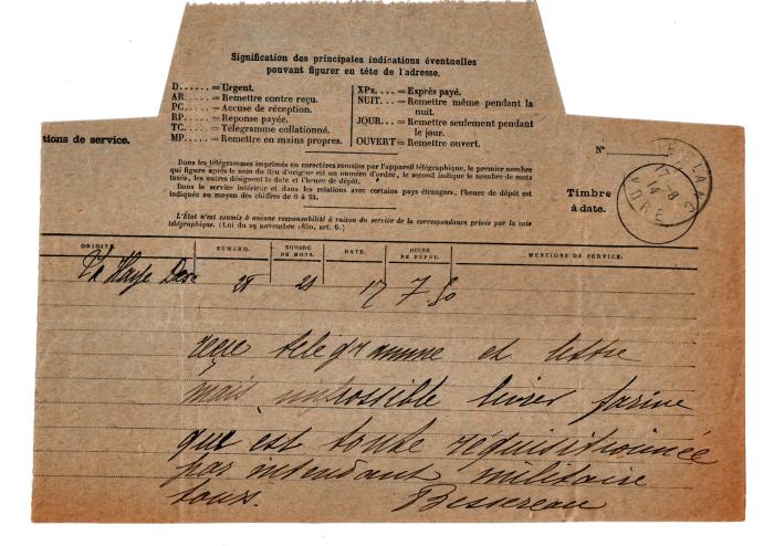 Second télégramme du minotier : la demande officielle est arrivée mais il n'y a plus de farine !