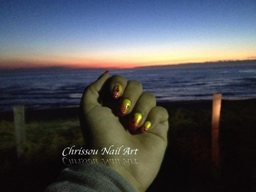 Nail art couché de soleil