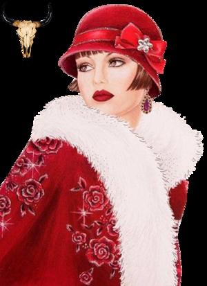 Tube Femme Noël en rouge 2
