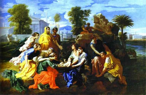 Bébé Moses sauvé du fleuve. 1651