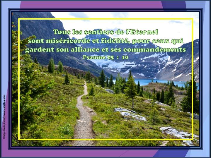 Tous les sentiers de l'Eternel - Psaumes 25 : 10
