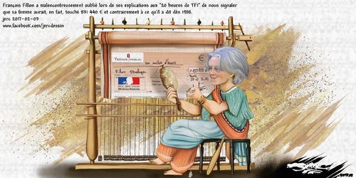 dessin de JERC vendredi 03 février 2017 caricature Penelope Fillon heureux qui comme François va faire un long voyage www.facebook.com/jercdessin