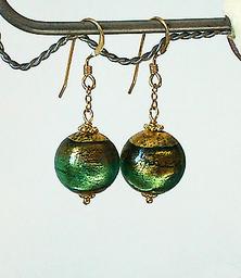 Boucles Verre de Murano authentique Vert d'Eau Feuille d'Or / Plaqué or Gold filled