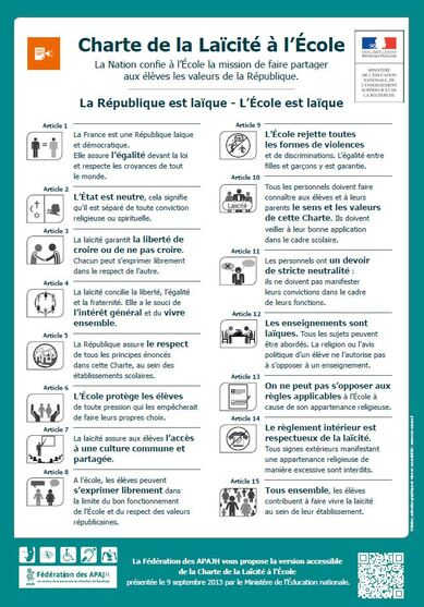 La charte de la laïcité à l'école : versions simplifiées pour les élèves