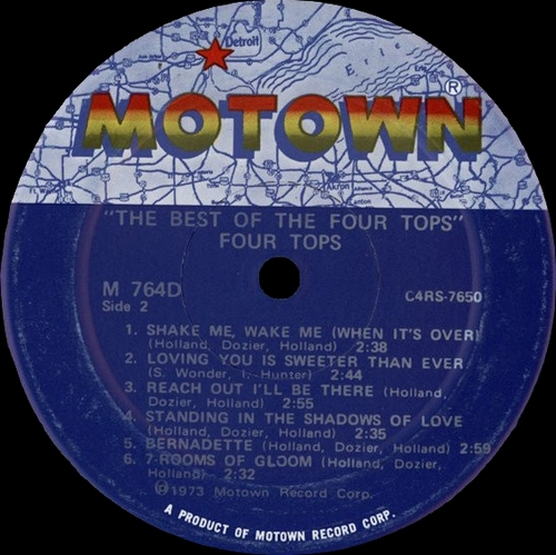 "The Four Tops : Album "" The Best Of The Four Tops "" Motown Records M 764D [ US ]"