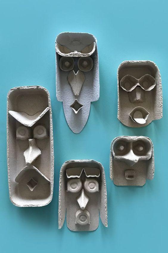 """Idée arts sur Pinterest : """"Encore des têtes à partir de boîtes d'oeuf"""""""