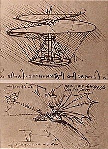 220px-Leonardo da Vinci helicopter and lifting wing1