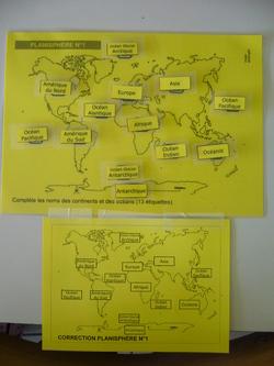 jeux placer océans continents sur différents planisphère