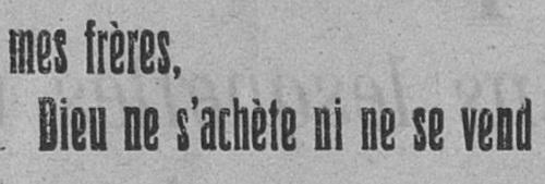Dieu ne s'achète ni ne se vend (Le Fraterniste, 15 juin 1924)