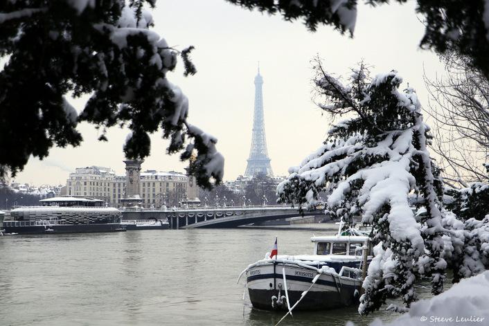 Crue de la Seine et neige à Paris, février 2018