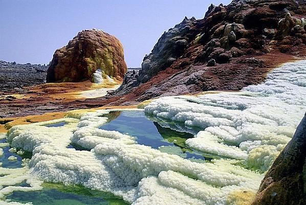 Zone saline dans le désert de la dépression du Danakil