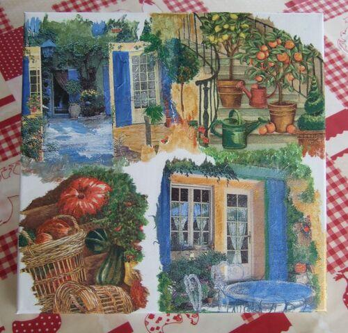 collage de serviettes trois D