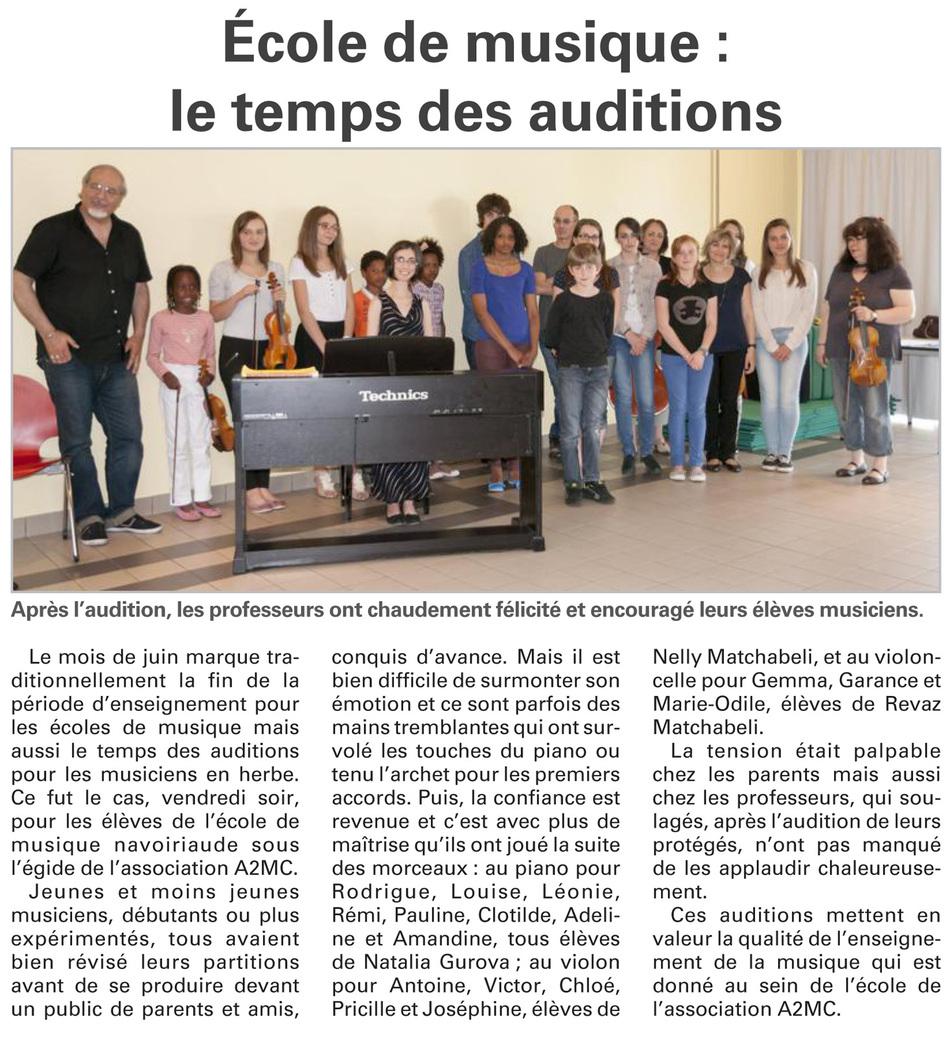 Juin 2013 - Vosges Matin, temps des auditions