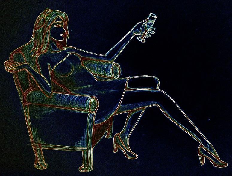 femme, assise, neon, fête