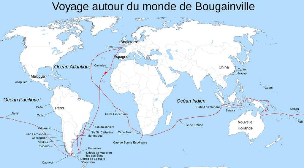 Carte représentant le périple de Bougainville autour du monde entre 1766 et 1769. © GNU Free Documentation License, Wikimedia commons.