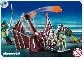 chevaliers dragon vert et catapulte