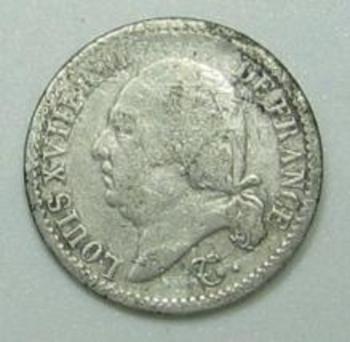 Quart de franc Louis XVIII  1823 Q avers