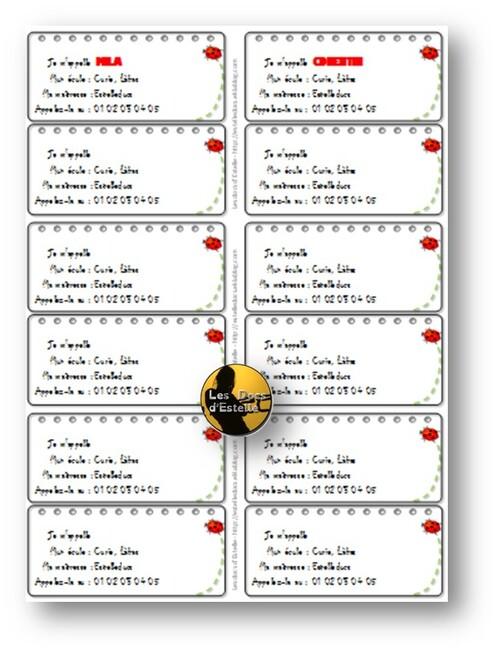 Etiquettes prénoms PS-MS, PS ou MS